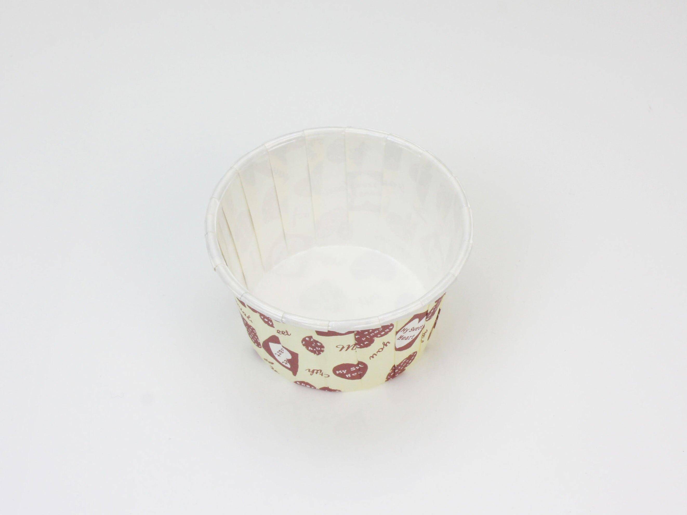 瑪芬杯、杯子蛋糕、捲口杯 PET4435-14 米底愛心(100pcs/包)