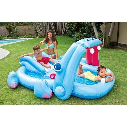 炎炎夏日 (24H出貨) INTEX 57150 英泰斯 河馬造型 充氣游泳池 溜滑梯戲水池 遊戲