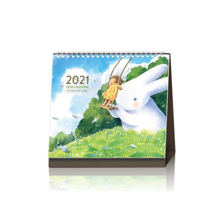【商品規格】編號:J-AFU-2021品名:afu插畫桌曆《2021 - 簡單而美好》尺寸:19.9 x 18.5 cm主要材質:銅版紙線圈:白色內容:12張手繪水彩插畫月曆格式:含國曆、農曆、節日產