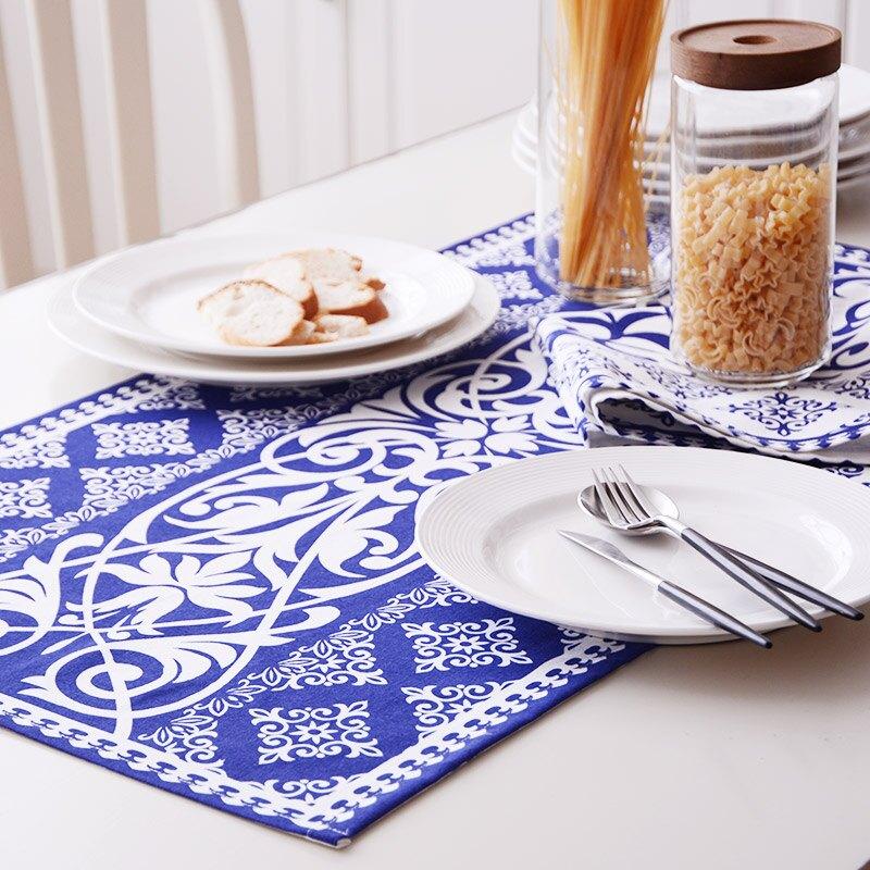 棉麻青花餐巾餐墊蓋巾茶巾 蓋巾墊巾 民族風桌布桌旗美食攝影/單售