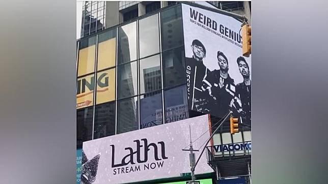 Weird Genius terpampang di Times Square, New York. Instagram