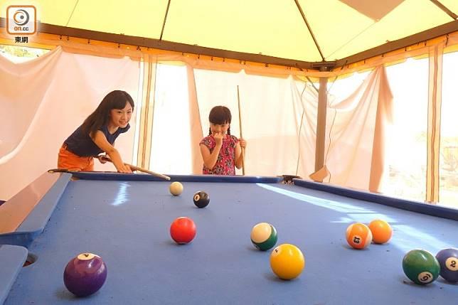 Party Room設有桌球枱,大家可在此舒適玩樂。(胡振文攝)