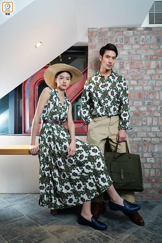 (左)草帽、綠 x 白色腰果花連身裙、黑色Slip On皮鞋;(右)綠 x 白色腰果花恤衫、卡其色長褲、墨綠色布袋。(方偉堅攝)