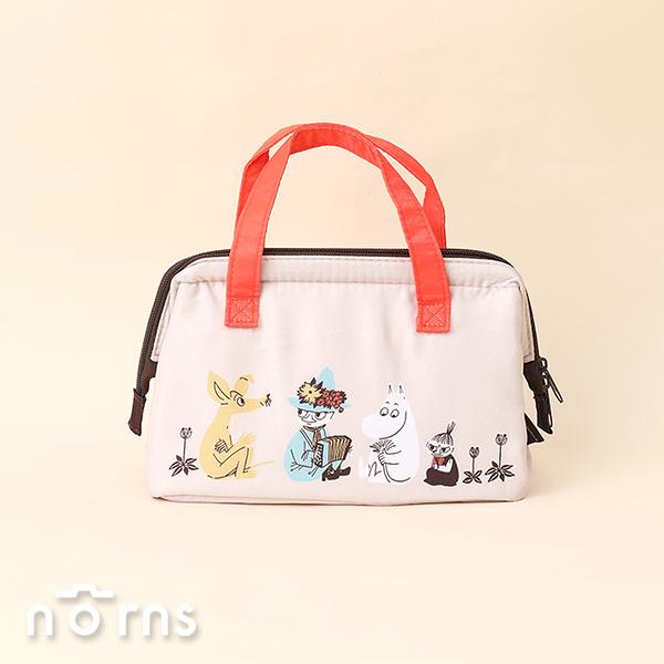 日貨Skater KGA1保冷手提袋Moomin排排坐淺棕 - Norns 日本進口 嚕嚕米 姆明 口金包 手提包 保冷袋