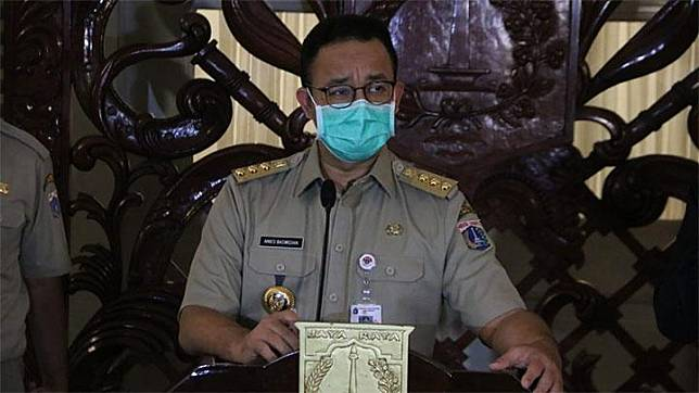 Gubernur DKI Jakarta Anies Baswedan saat menyampaikan update kasus Covid 19 di Balai Kota Jakarta Pusat, Senin 30 Maret 2020. Dok Humas Pemprov DKI