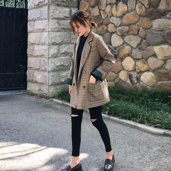 2018秋季新款迷你格紋西服正韓學生寬鬆復古格子迷你小西裝外套女