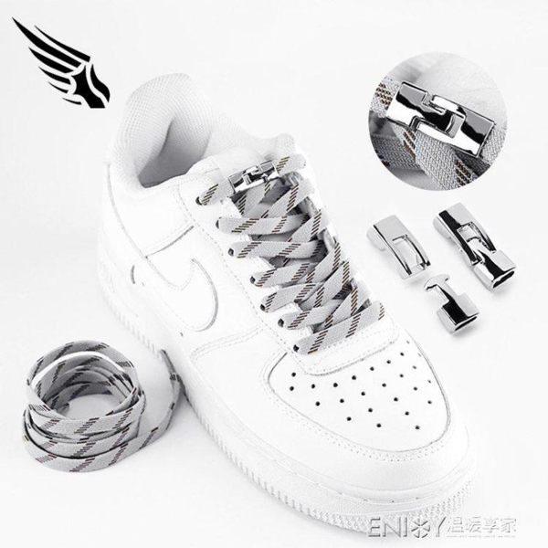 4代掛鉤免系彈力扁鞋帶適配1970S運動休閑帆布鞋矮皮靴子白色