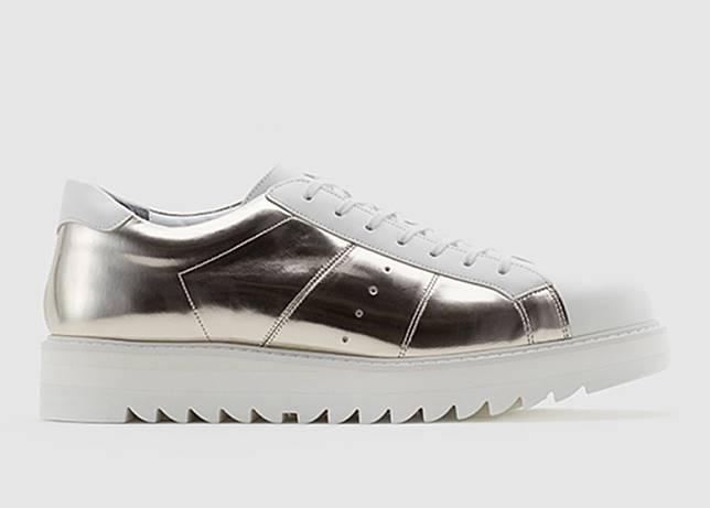 Blucher金屬銀色皮革鞋(互聯網)