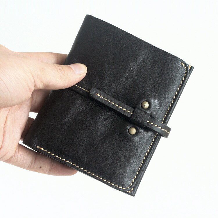 短夾真皮皮夾-植鞣牛皮抽帶搭扣男女錢包2色73vo10【獨家進口】【米蘭精品】