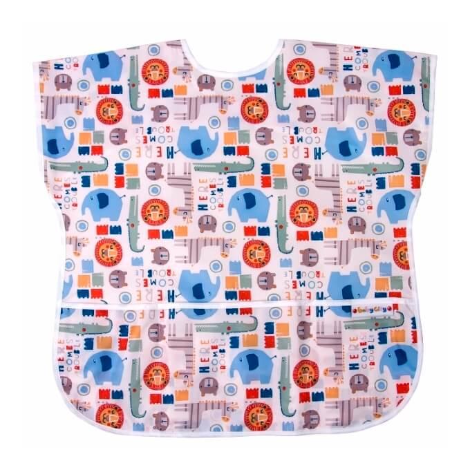 適合1-3歲,蓋袖設計,肩膀也不會弄髒!使用防水布料製成, 能防止湯汁弄髒衣服,寬口袋能接住掉落的食物。可機洗,一般髒汙可用清水擦拭乾淨,清理容易。頸圍可調節,穿戴方便。收納袋設計,減少體積攜帶更方便
