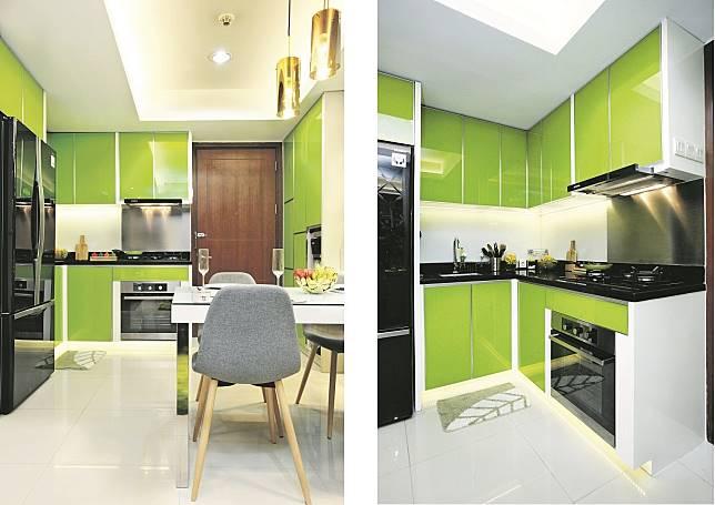 Inspirasi Dapur Serba Hijau Untuk Apartemen Banyak Penyimpanannya