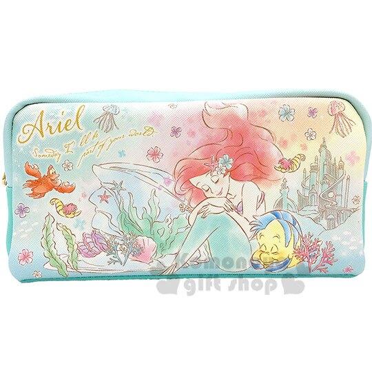 〔小禮堂〕迪士尼 小美人魚 皮質拉鍊筆袋《綠.閉眼》鉛筆盒.化妝包.收納包