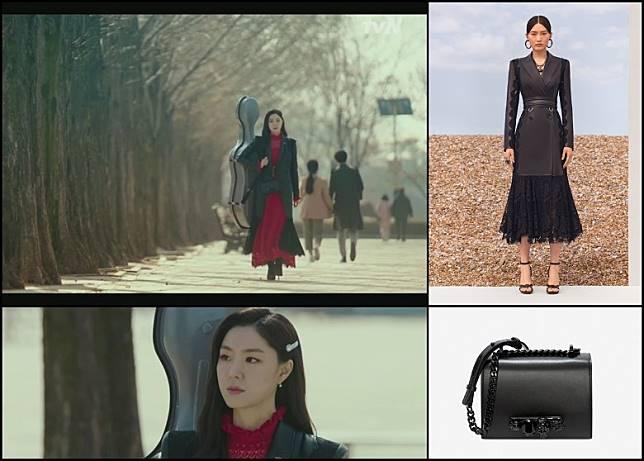 最後一集大結局(第16集),徐智慧孭着大提琴所著的黑色喱士裙、孖襟外套及皮革手袋都是ALEXANDER McQUEEN。(互聯網)