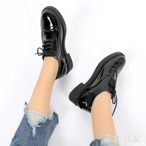 日式黑色小皮鞋 夏款英倫風夏天單鞋韓版百搭平底2019新款學生單鞋