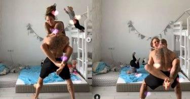 辣媽玩抖音,3歲兒模仿飛撲「頭折90度」