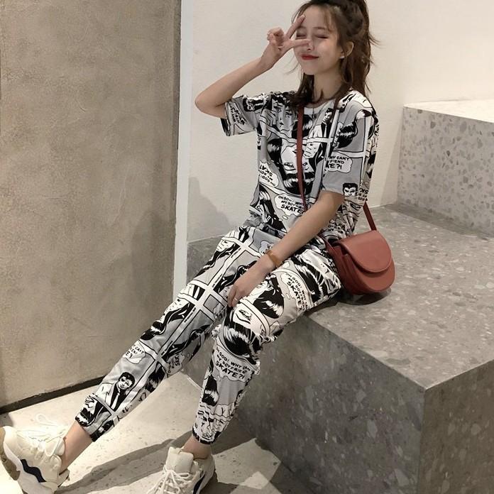 [S-2XL] 運動服 運動套裝 休閒套裝 漫畫印花運動服 休閒套裝 短袖運動服 女生衣著 潮妞必備