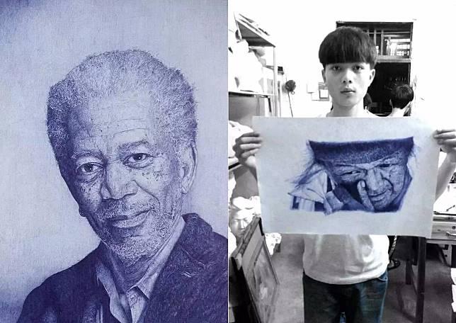 ▲ 大陸廣東天才畫家凌雲登僅用原子筆就創作出許多驚人作品。(圖/翻攝自《微博》)