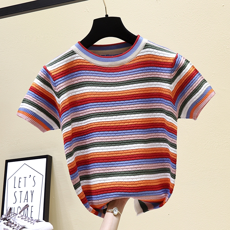 【現貨】泫雅風彩色條紋T恤 短袖T恤 正韓上衣 減齡百搭顯瘦上衣 學院風韓系上衣