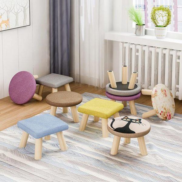 凳子家用時尚創意小板凳簡約現代成人木頭小凳子沙發凳小椅子圓凳