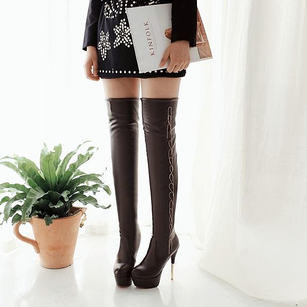 春秋冬新款彈力靴歐美過膝長靴 防水臺瘦腿高筒靴 細跟高跟女靴子