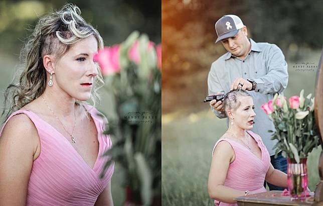 ▲妻子被診斷出罹患乳癌,夫妻倆決定勇敢面對,在化療前先由丈夫替妻子剪去三千煩惱絲。照片曝光後,感動無數網友。(圖/翻攝自 Mandy Parks Photography 的臉書)