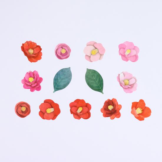椿花貼紙紙膠細節
