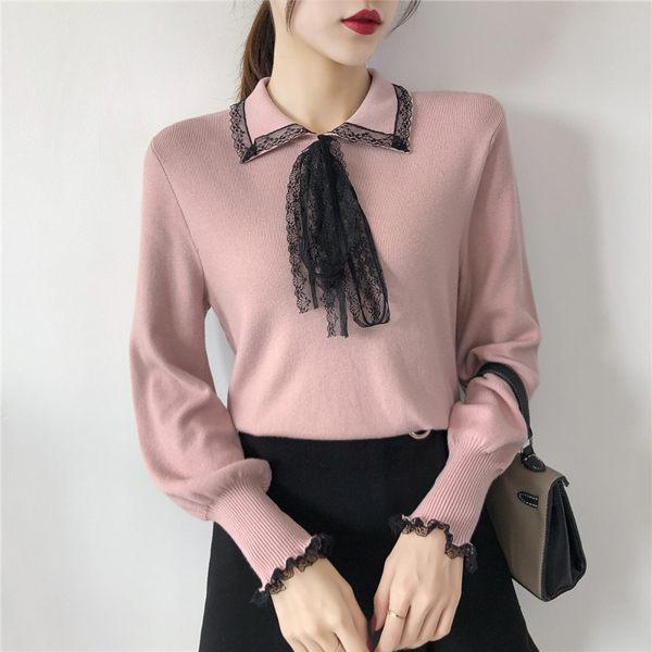 VK精品服飾 韓國風喇叭袖釘純色百搭修身針織衫長袖上衣
