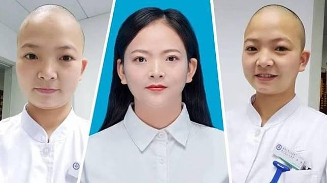 Demi lawan virus corona, perawat di China rela gunduli kepala (China Daily / ANN via The Star)