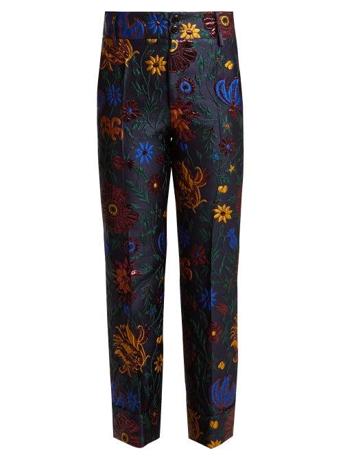 La DoubleJ - The standout Dragon Flower jacquard pattern that adorns these navy Hendricks trousers i