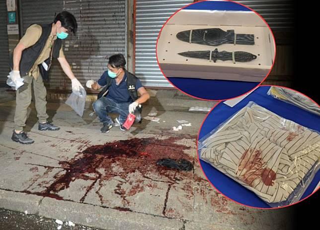 警方展示檢獲的證物,包括血衣。資料圖片