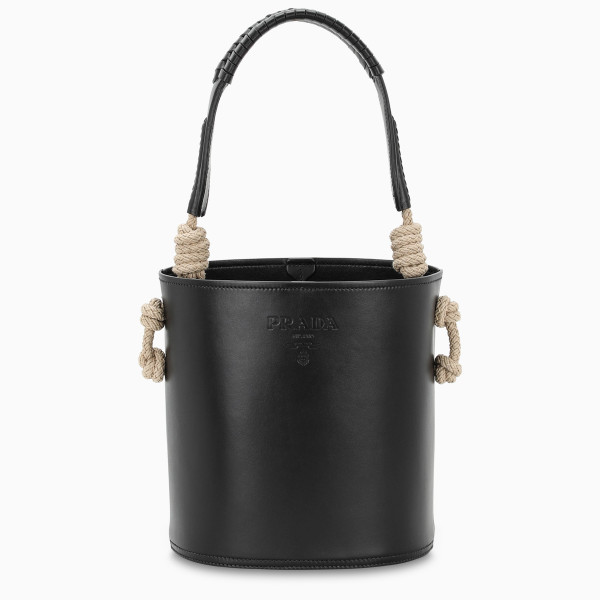 Bucket bag by Prada in black leather, featuring a rope and braided leather handle, an adjustable and