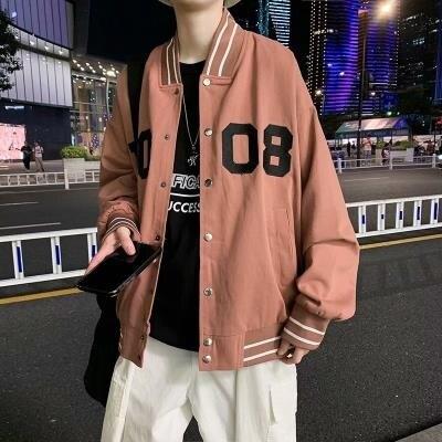 棒球外套 韓版寬鬆潮流印花棒球服男港風街頭拉鏈開衫學生外套上衣