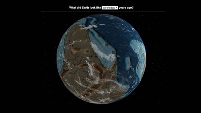 Globe digital 3D Bumi Kuno. (Dinosaurpictures.org)