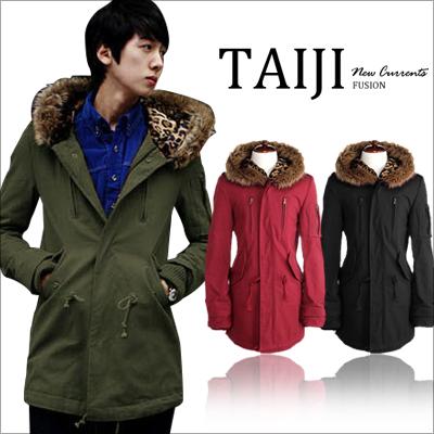 ■ 日韓風格‧情侶大毛領豹紋多口袋連帽軍裝外套 。