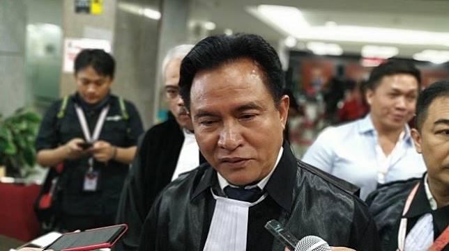 Ketua tim kuasa hukum Jokowi - Ma'ruf, Yusril Ihza Mahendra. (Suara.com/M Yasir)