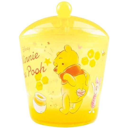 〔小禮堂〕迪士尼 小熊維尼 圓形壓克力拿蓋收納罐《透明黃》置物罐.棉花罐.收納盒 4548626-09308
