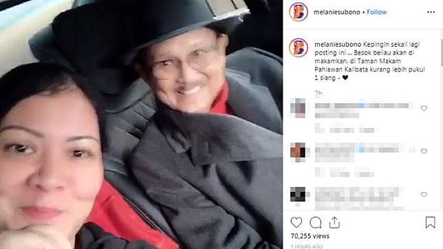Melanie Subono yang merupakan cucu dari almarhum BJ Habibie juga membagikan membagikan kenangan ketika akan makan siang bersama eyangnya lewat media sosial Instagramnya.  BJ Habibie meninggal dunia dalam usia 83. Instagram/@melaniesubono