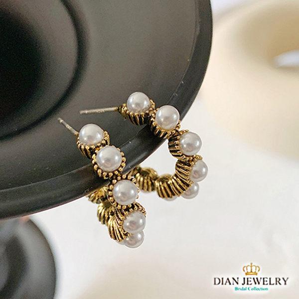 【DIAN 黛恩珠寶】古典珍珠 925純銀耳環(JS2769)