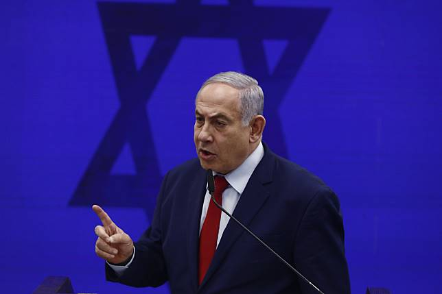 Benjamin Netanyahu speaks during an event in Tel Aviv on Sept. 10. Photographer: Kobi Wolf/Bloomberg
