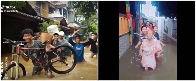 7 Aksi warga bikin video TikTok saat banjir, bikin ketawa