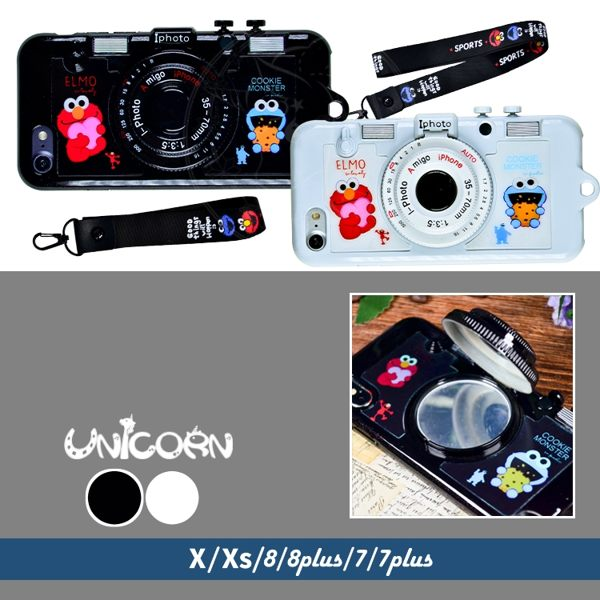 -兩色-芝麻街立體相機造型 可立支架+小鏡子(贈吊繩)全包 保護殼 iphone X XS 8 8plus 7 7plus Unicorn手機殼