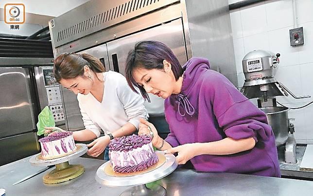 千嬅與Yumi學整蛋糕,落足心機。