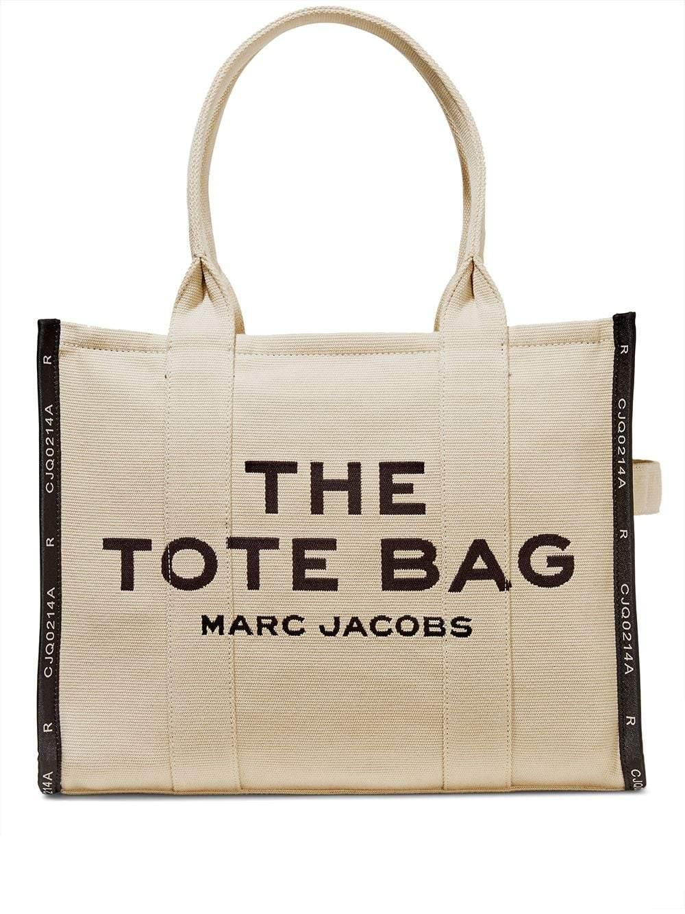 Beige/black cotton-blend The Jacquard Traveler tote bag from Marc Jacobs featuring jacquard logo mot
