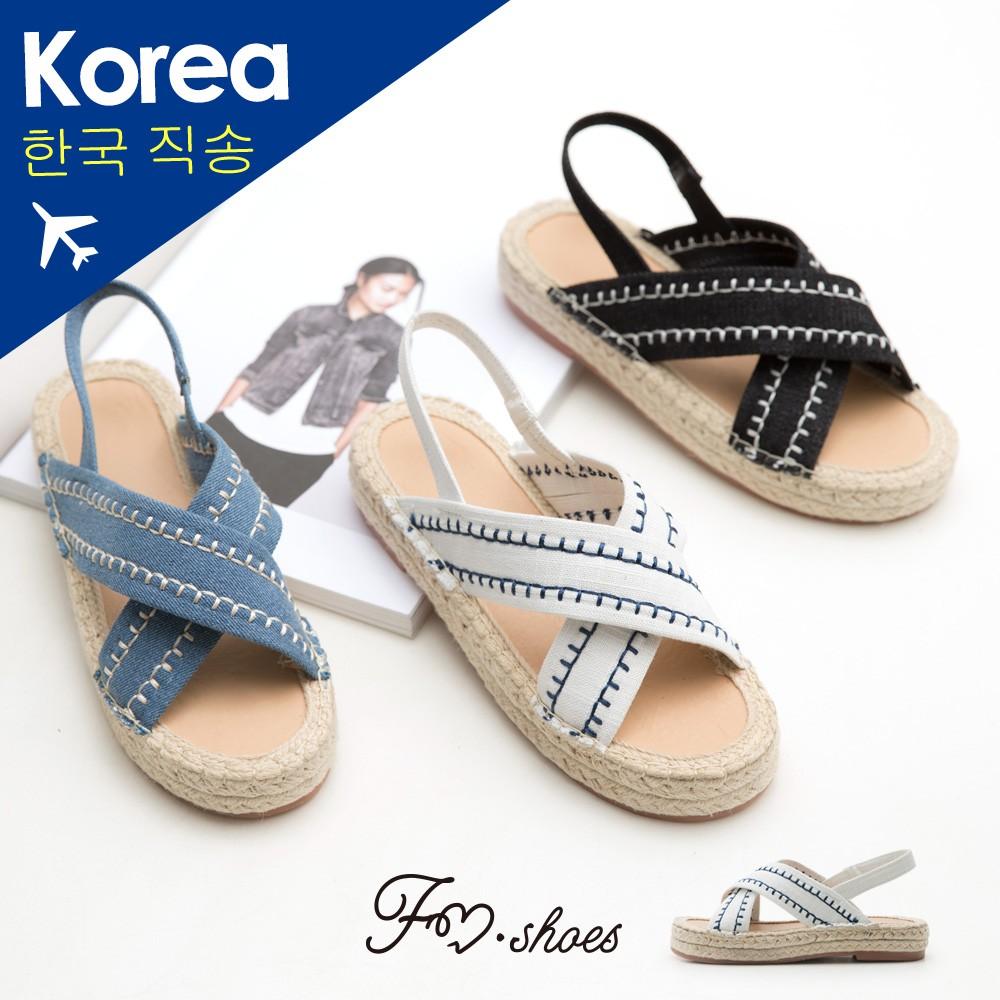 【FMSHOES】韓-手縫交叉帶厚底涼鞋-14010276