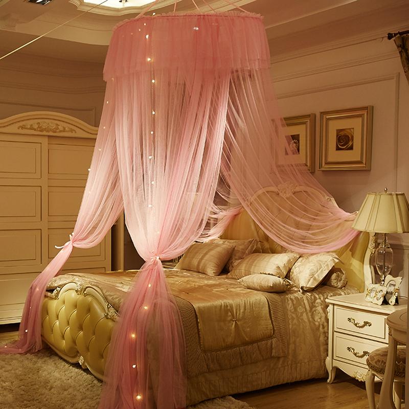 夢幻圓頂床幔三開門蚊帳公主風吊頂紗幔女生房間床頭簾裝飾臥室