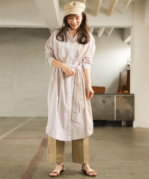 襯衫式連身裙+寬褲