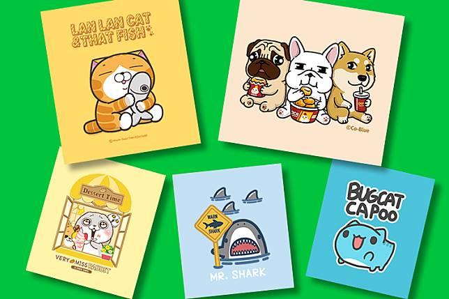 原創市集的主題排行榜由白爛貓、豆卡頻道、好想兔、江先生(停雨出品)與亞拉等上榜(圖/LINE 提供)
