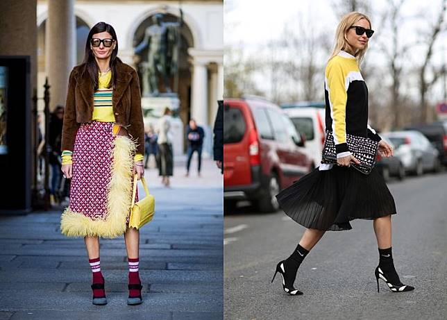 波襪襯高踭鞋,加上一身優雅裝扮,對比愈強烈愈型格。(互聯網)