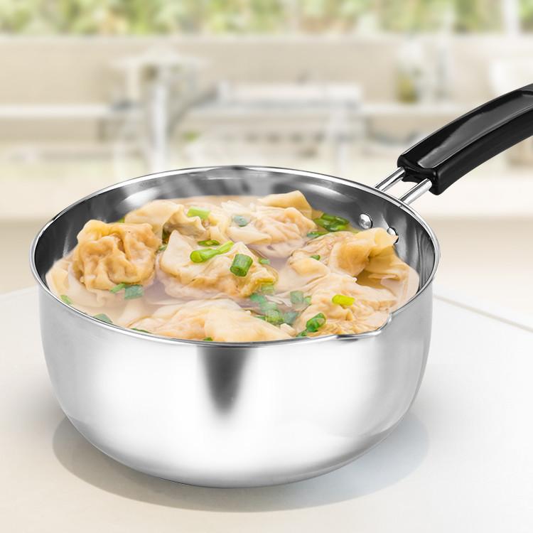 <產品規格> HIKARI日光生活-H1255-304不鏽鋼單把湯鍋18cm-1組 產品規格:內徑18CM厚0.045CM 產品材質:304不鏽鋼 重量:260G 容量:1730.CC 入數:1組入