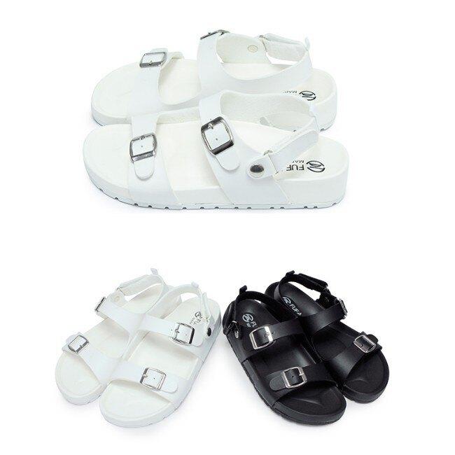 【My style】富發牌1MQ57簡約雙線釦飾涼鞋(黑.白)23-25號-任兩雙免運